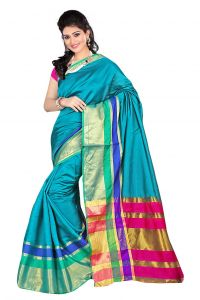 Nirja Creation Sky Blue Color Banarasi Cotton Fancy Saree (code - Nc-fr-869)