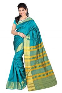 Nirja Creation Sky Blue Color Banarasi Cotton Fancy Saree (code - Nc-fr-872)