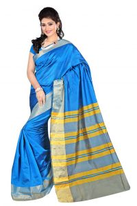Nirja Creation Sky Blue Color Banarasi Cotton Fancy Saree (code - Nc-fr-876)