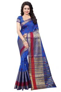 Nirja Creation Blue Color Banarasi Cotton Fancy Saree (code - Nc-od-888)