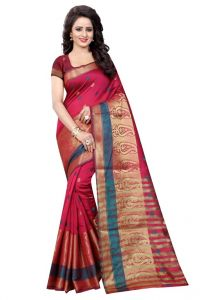Nirja Creation Red Color Banarasi Cotton Fancy Saree (code - Nc-od-889)