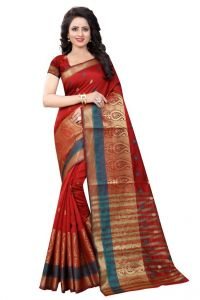Nirja Creation Red Color Banarasi Cotton Fancy Saree (code - Nc-od-891)