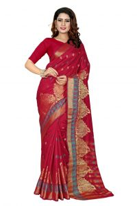 Nirja Creation Red Color Banarasi Cotton Fancy Saree (code - Nc-od-892)