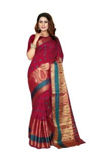 Nirja Creation Red Color Banarasi Cotton Fancy Saree (code - Nc-od-897)