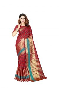 Nirja Creation Red Color Banarasi Cotton Fancy Saree (code - Nc-od-899)