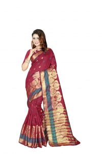 Nirja Creation Red Color Banarasi Cotton Fancy Saree (code - Nc-od-903)