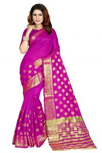 Nirja Creation Pink Color Banarasi Cotton Fancy Saree (code - Nc-od-904)