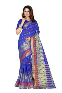 Nirja Creation Blue Color Banarasi Cotton Fancy Saree (code - Nc-od-910)