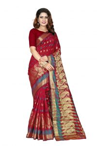 Nirja Creation Red Color Banarasi Cotton Fancy Saree (code - Nc-od-911)