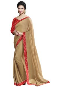 Nirja Creation Beige Color Georgette Fancy Saree (code - Nc-ods-102)