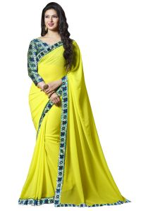 Nirja Creation Yellow Color Georgette Fancy Saree (code - Nc-ods-104