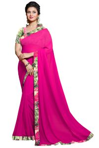 Nirja Creation Pink Color Georgette Fancy Saree (code - Nc-ods-105)