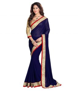Nirja Creation Blue Color Georgette Fancy Saree (code - Nc-ods-140)