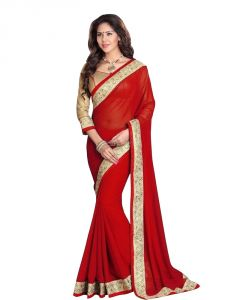 Nirja Creation Red Color Georgette Fancy Saree (code - Nc-ods-141)