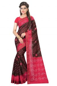 Nirja Creation Brown And Pink Color Cotton Silk Bandhani Saree Nc1072ssd