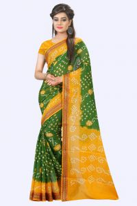 Nirja Creation Green And Yellow Color Cotton Silk Bandhani Saree Nc1077ssd