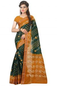 Nirja Creation Green Color Cotton Silk Bandhani Sareee Nc1078ssd