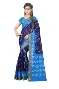 Nirja Creation Blue Color Cotton Silk Bandhani Saree Nc1079ssd