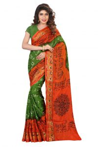 Nirja Creation Green And Orange Color Art Silk Bandhani Saree Nc1081ssd