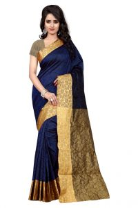 Nirja Creation Navy Blue Color Banarasi Cotton Fancy Saree (code - Nc-od-807)