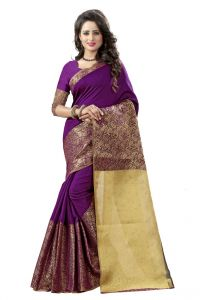 Nirja Creation Purple Color Banarasi Cotton Fancy Saree (code - Nc-od-812)