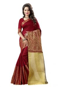 Nirja Creation Purple Color Banarasi Cotton Fancy Saree (code - Nc-od-813)