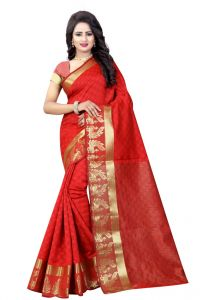 Nirja Creation Orange Color Banarasi Cotton Fancy Saree (code - Nc-od-827)