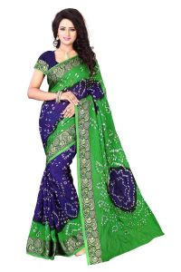 Nirja Creation Green And Blue Color Art Silk Bandhani Saree Nc-012ssd