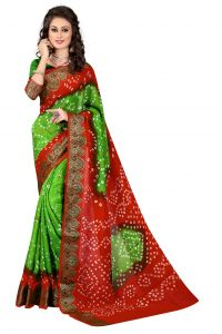 Nirja Creation Green, Red Color Art Silk Bandhani Saree Nc-003ssd