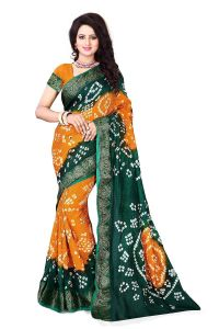 Nirja Creation Green, Yellow Color Art Silk Bandhani Saree Nc-004ssd