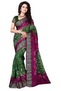 Nirja Creation Green And Violate Color Art Silk Bandhani Saree Nc-006ssd