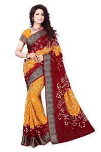 Nirja Creation Maroon And Yellow Color Art Silk Bandhani Saree Nc-007ssd