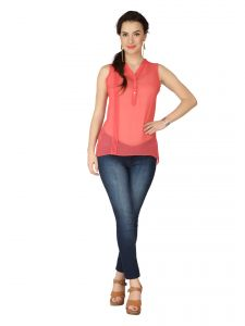 Soie Pink Georgette Top For Women (code - 6170_i_pink)
