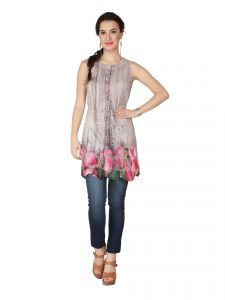 Tops & Tunics - SOIE Printed Heavy Poly Lycra Printed Embroidered Fabric Tunic For Women  (Code - 6191)