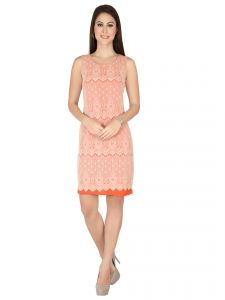 Soie Orange Lace Fabric, Georgette Dress For Women (code - 6318orange)
