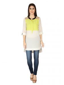Soie Off White Structured Heavy Imported Georgette Tunic For Women (code - 6181off_white)