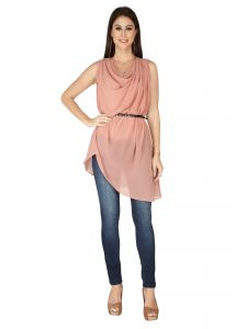 Tops & Tunics - SOIE Pink Georgette Tunic For Women  (Code - 6304_B_PINK)