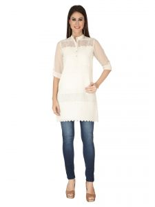 Soie Off White Lace Fabric,cot And Georgette Tunic For Women (code - 6178off_white)