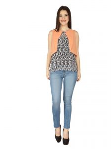 Soie Peach Printed Georgette Top For Women (code - 6115_i)