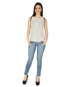 Soie Off White Georgette, Lace Fabric Top For Women (code - 6137_i_off_white)