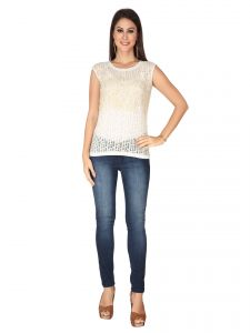 Soie Off White Imported Burnt Out Knit, Embroidered Gold Print Fabric Top For Women (code - 6278_i_off_white)
