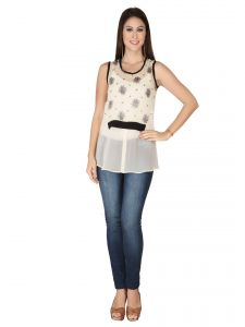 Soie Ivory Printed Georgette Top For Women (code - 6156_i_ivory)