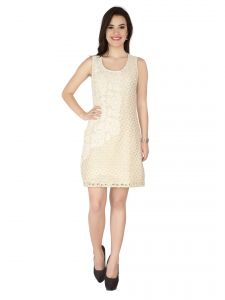 Soie Off White Lace Fabric, Embroidered Fabric Dress For Women (code - 6319off_white)