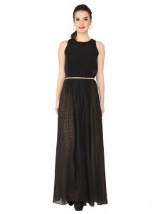 Soie Black Georgette, Printed Maxi For Women (code - 6251_b)
