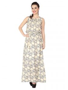 Soie Printed Rayon All Over Printed Maxi For Women (code - 6253)