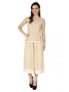 Soie Ivory Jute, Blended Linen Top For Women (code - 6295)