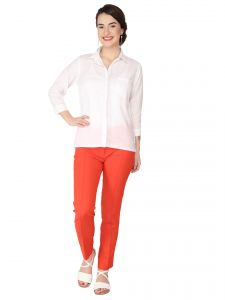 Soie Off White Remi Linen Top For Women (code - 6281off_white)