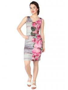 Western Dresses - SOIE Printed Poly Lycra Printed, Embroidered Fabric Dress For Women  (Code - 6234)