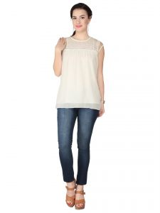 Soie Off White Georgette Top For Women (code - 6274off_white)