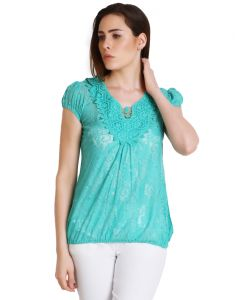 "Hoop,Shonaya,Soie,Platinum Women's Clothing - Soie Casual Short Sleeve Floral Print Women""s Top(Product Code)_5431Green_"
